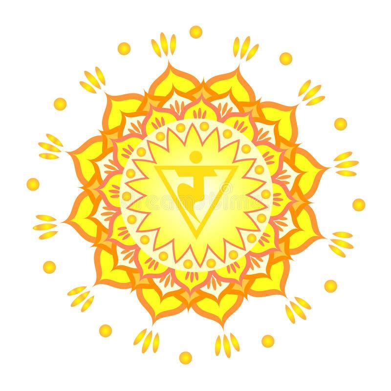 Modèle de mandala de cercle Illustration de vecteur de chakra de Manipura illustration libre de droits