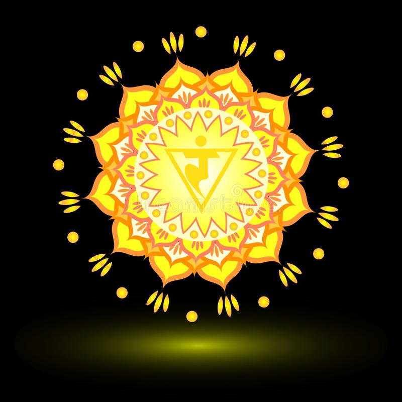 Modèle de mandala de cercle Manipura Chakra illustration stock