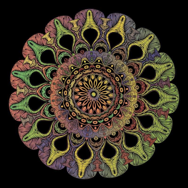 Modèle de mandala d'arabesque de broderie Ornement floral de Paisley de rond de tapisserie colorée de vecteur Texture grunge Fleu illustration stock