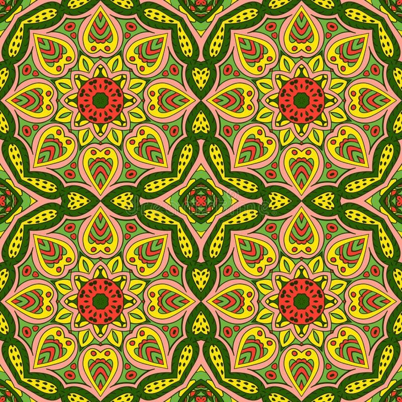 Modèle de Mandala Eastern Ornement sans couture de Zentangl illustration de vecteur