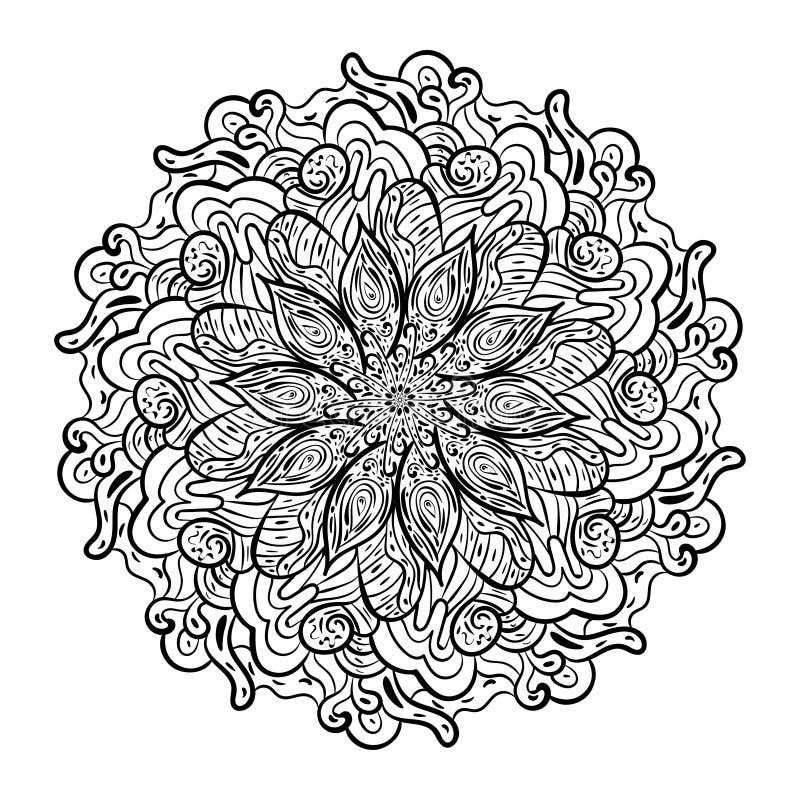 Modèle de mandala noir et blanc illustration stock