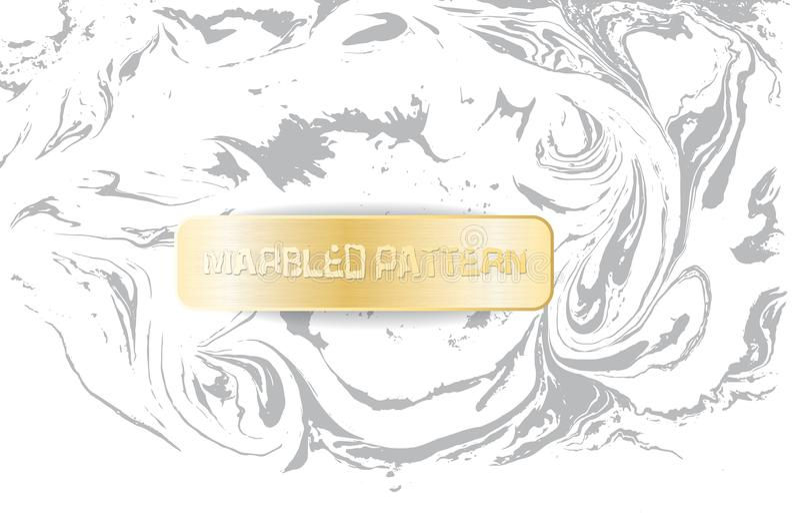 Modèle de marbre blanc et gris Texture de marbrure légère Fond marbré décoratif avec la bannière d'or Vecteur illustration stock