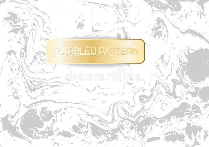 Modèle de marbre blanc et gris Texture de marbrure légère Fond marbré décoratif avec la bannière d'or Vecteur illustration libre de droits