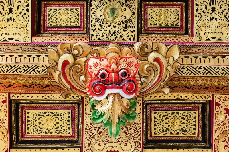 Modèle de masque traditionnel de Barong dans le temple sur l'île de Bali photos stock