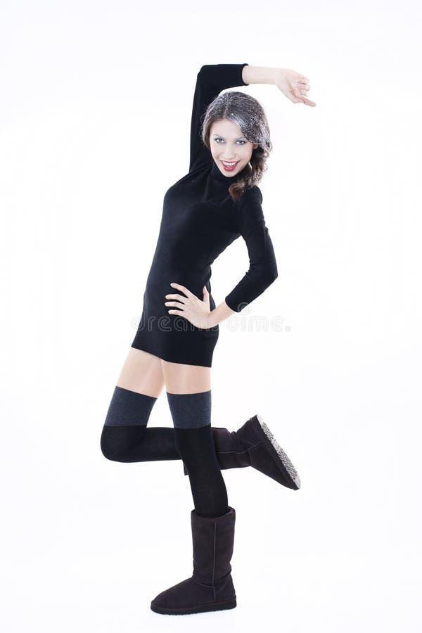 Modèle de mode dans des vêtements de l'hiver photo libre de droits