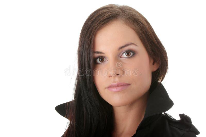 Modèle de mode dans la couche noire photos libres de droits
