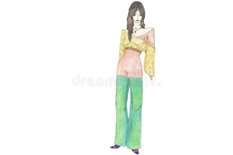 Modèle de mode de scène de club illustration stock