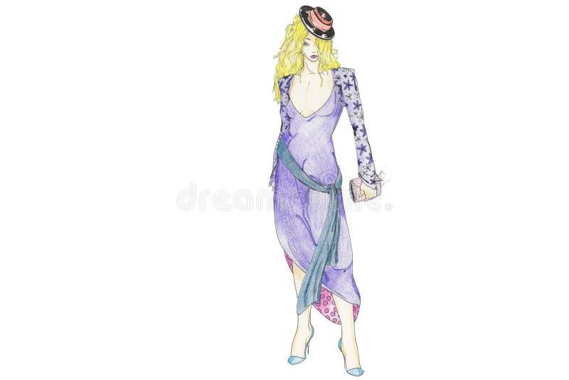 Modèle de mode fascinant illustration libre de droits