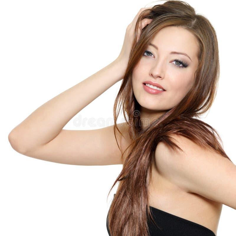 Modèle de mode sexy avec le long cheveu photos libres de droits