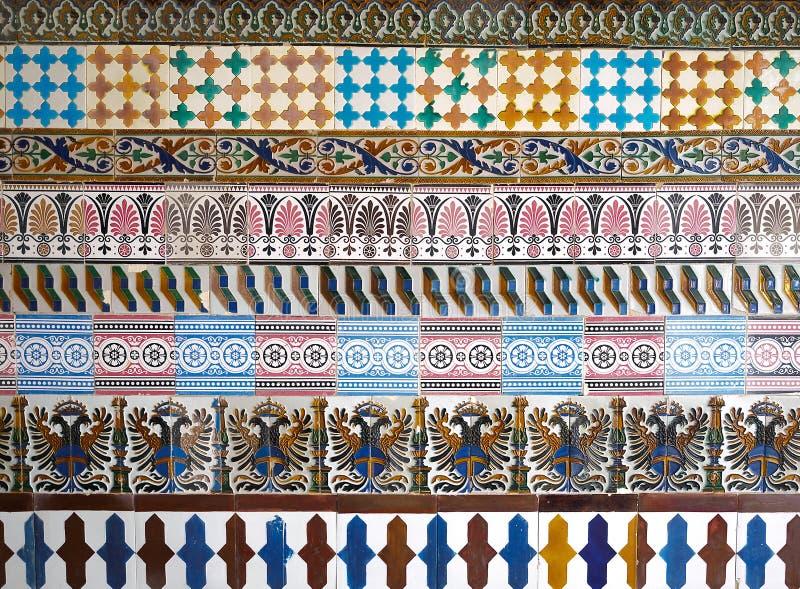 Modèle de mosaïque au monastère de Cartuja, Séville, Espagne Usine de Charles Pickman photo libre de droits