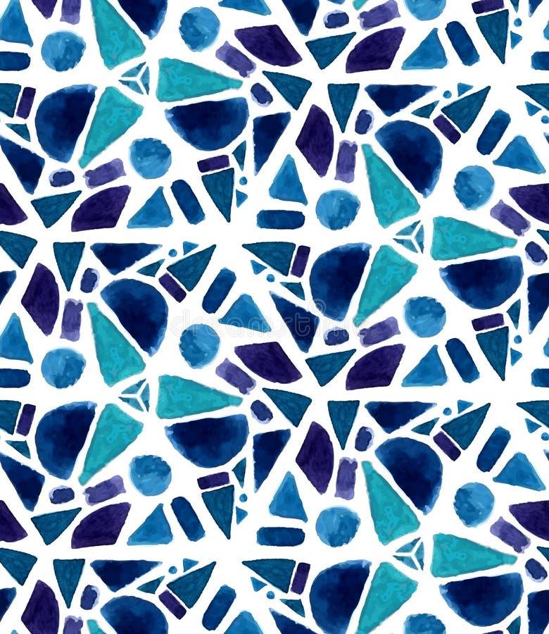 Modèle de mosaïque avec les tuiles peintes par aquarelle Couleurs de texture de triangle de la géométrie, violettes et bleues illustration de vecteur