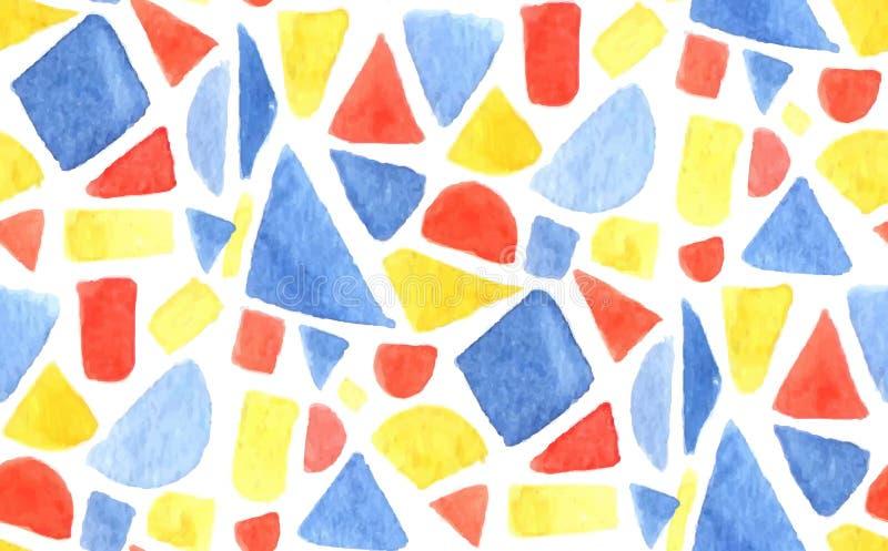 Modèle de mosaïque d'aquarelle de vecteur Fond sans couture avec des formes, des triangles et des places peintes de la géométrie  illustration libre de droits