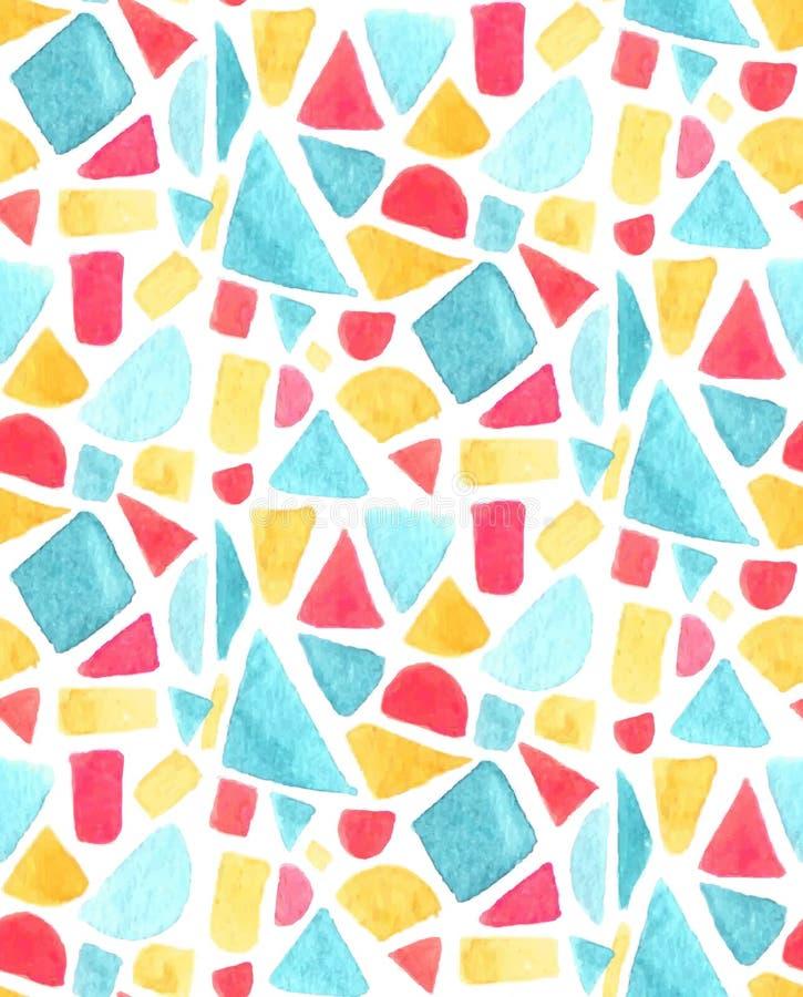 Modèle de mosaïque sans couture avec des tuiles d'aquarelle Fond de vecteur en verre souillé Orange la géométrie jaune, bleue et  illustration libre de droits