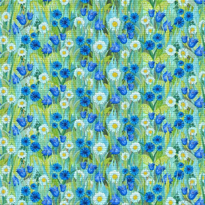Modèle de mosaïque sans couture des camomilles, bleuets, jacinthes des bois sur l'herbe illustration stock