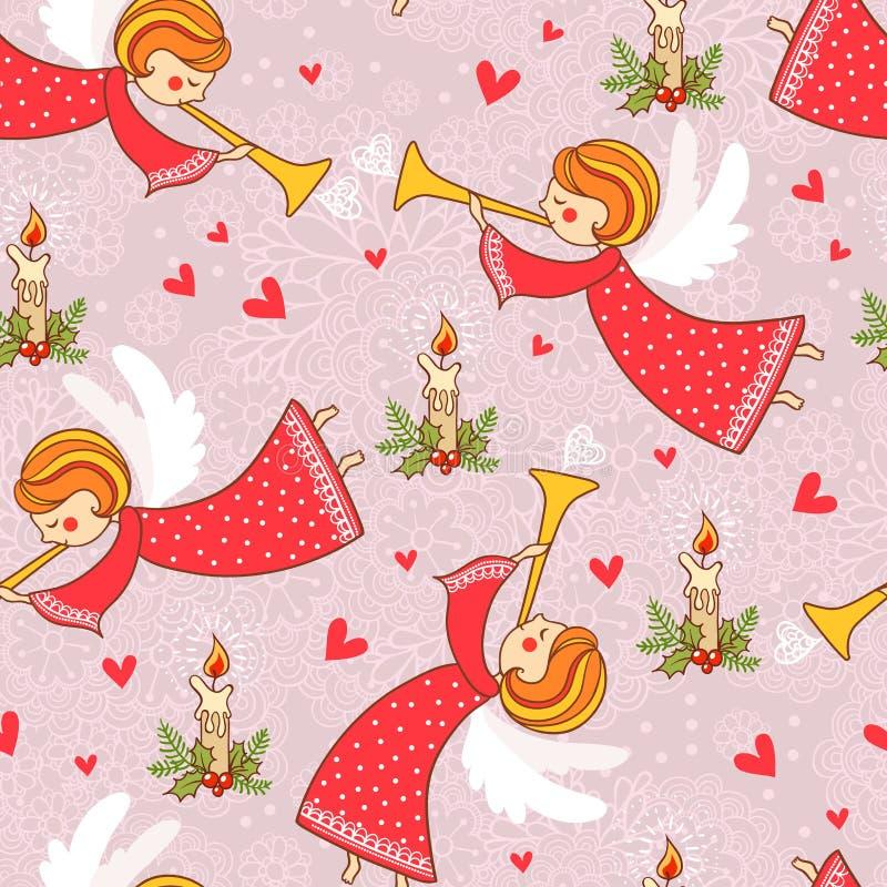Modèle de Noël avec des anges volant dans le ciel. illustration de vecteur