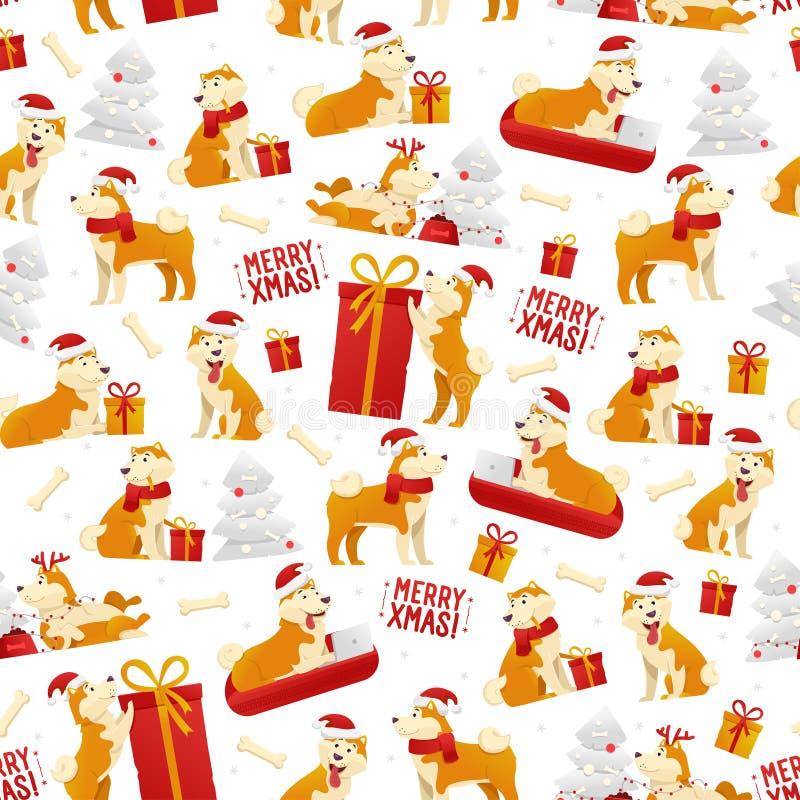 Modèle de Noël avec des chiens et des cadeaux Modèle sans couture de la nouvelle année 2018 avec le symbole de chien jaune du vec illustration stock