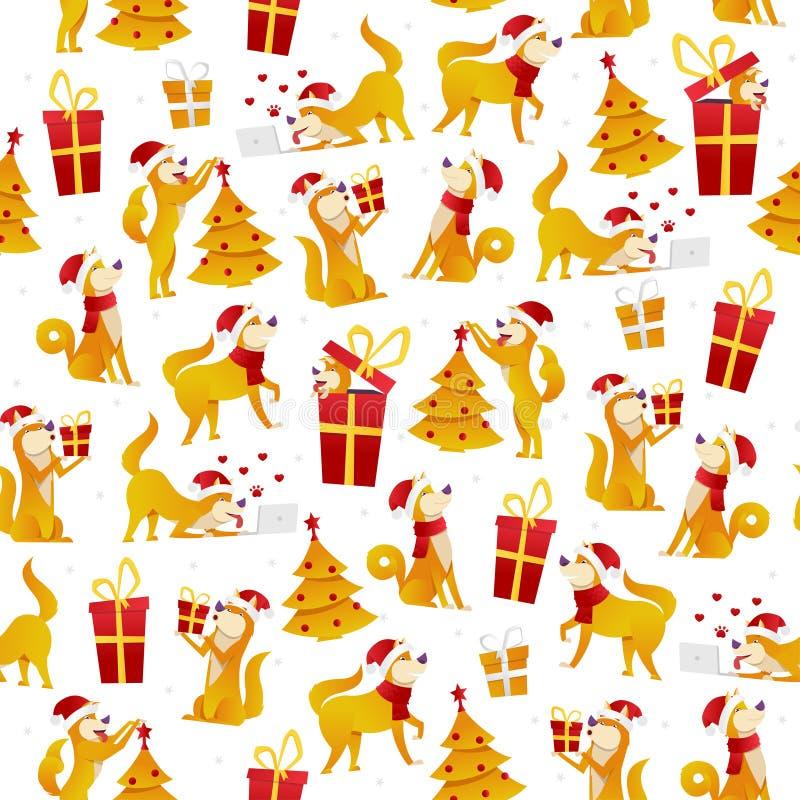 Modèle de Noël avec des chiens et des cadeaux Modèle sans couture de la nouvelle année 2018 avec le symbole de chien jaune du vec illustration de vecteur