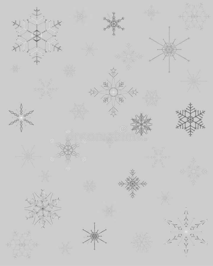 Modèle de Noël avec différentes étoiles de neige sur le fond argenté illustration libre de droits