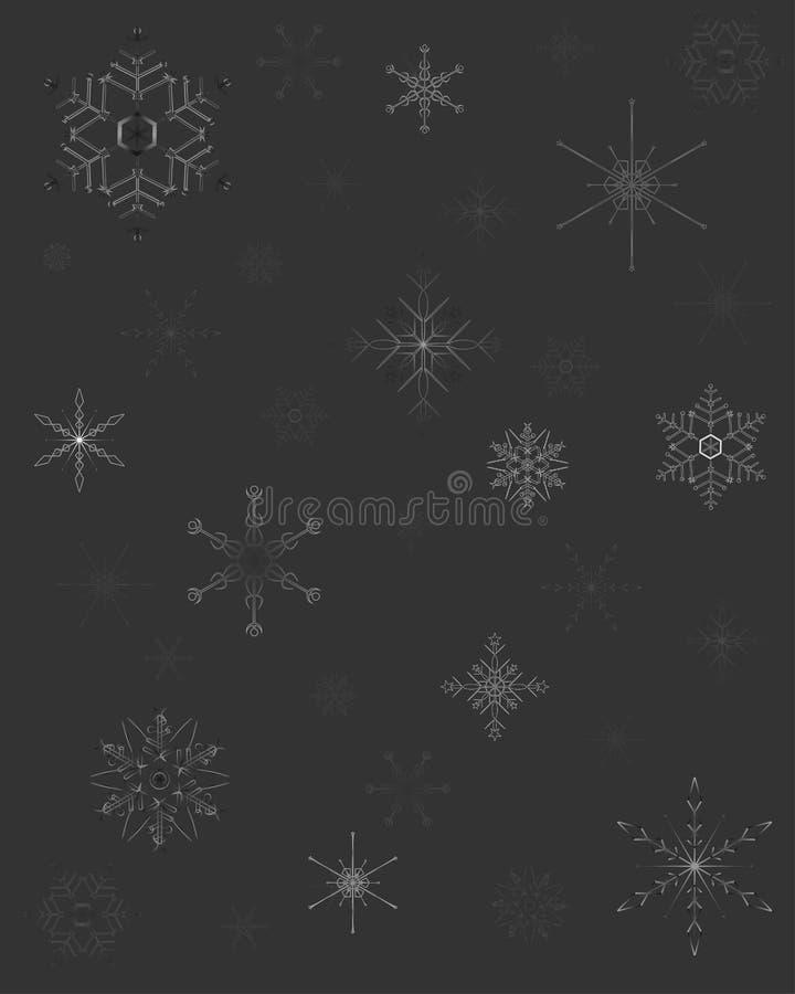 Modèle de Noël avec différentes étoiles de neige sur le fond gris illustration de vecteur