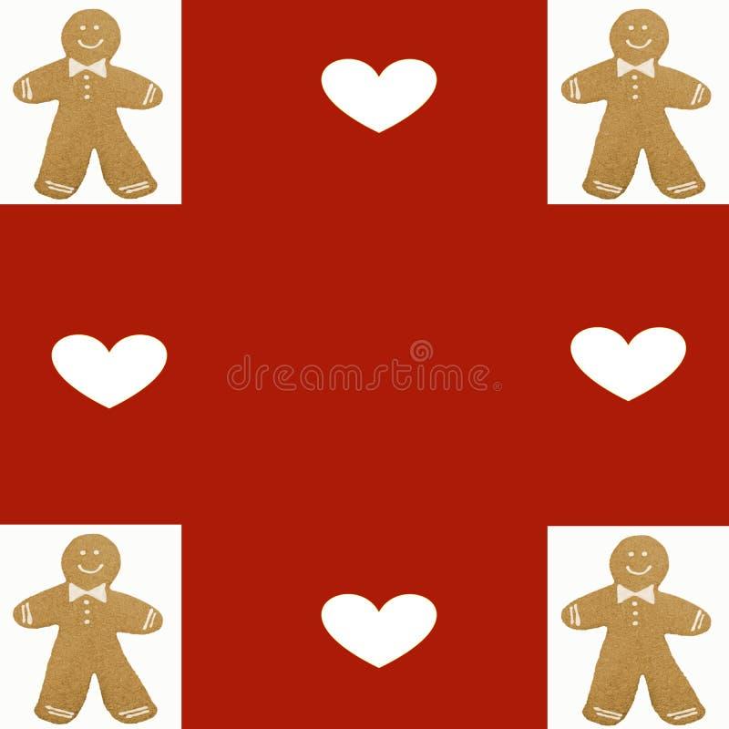 Modèle de Noël de biscuits de bonhomme en pain d'épice illustration libre de droits