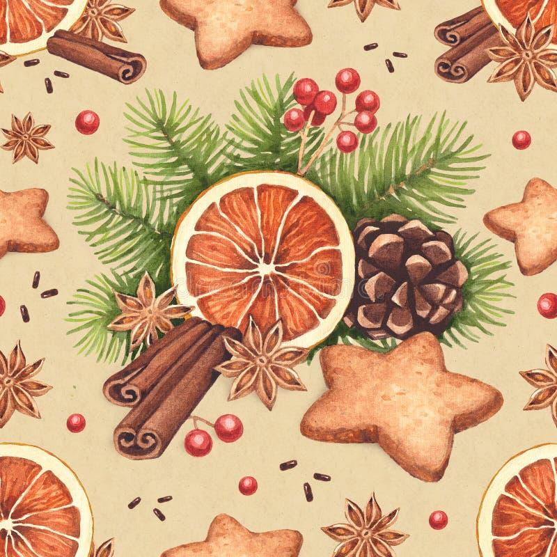 Modèle de Noël d'aquarelle illustration stock