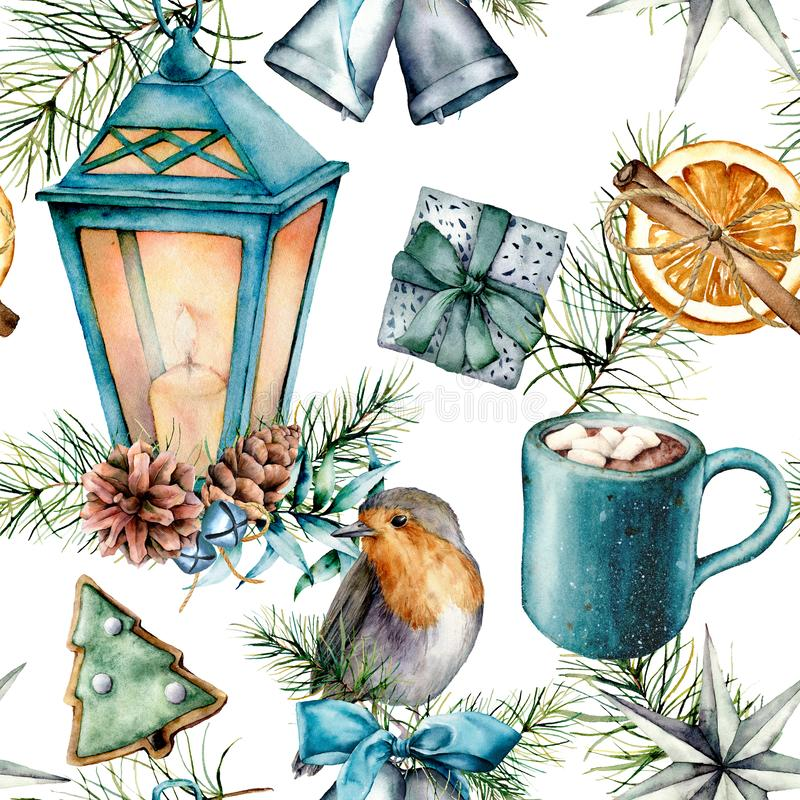 Modèle de Noël d'aquarelle dans le style scandinave Lanterne bleue peinte à la main, tasse de cacao avec la guimauve, merle, pâti illustration libre de droits