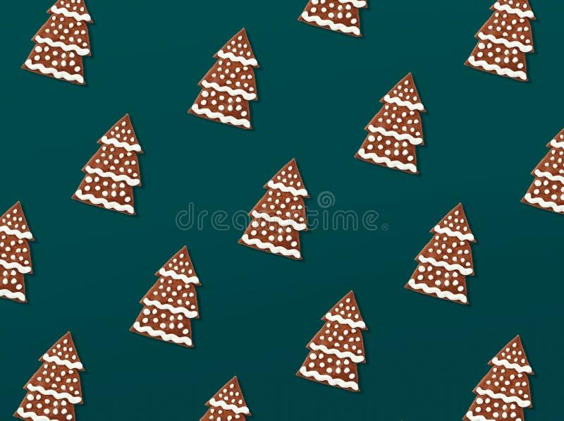 Modèle de Noël des biscuits de pain d'épice illustration stock