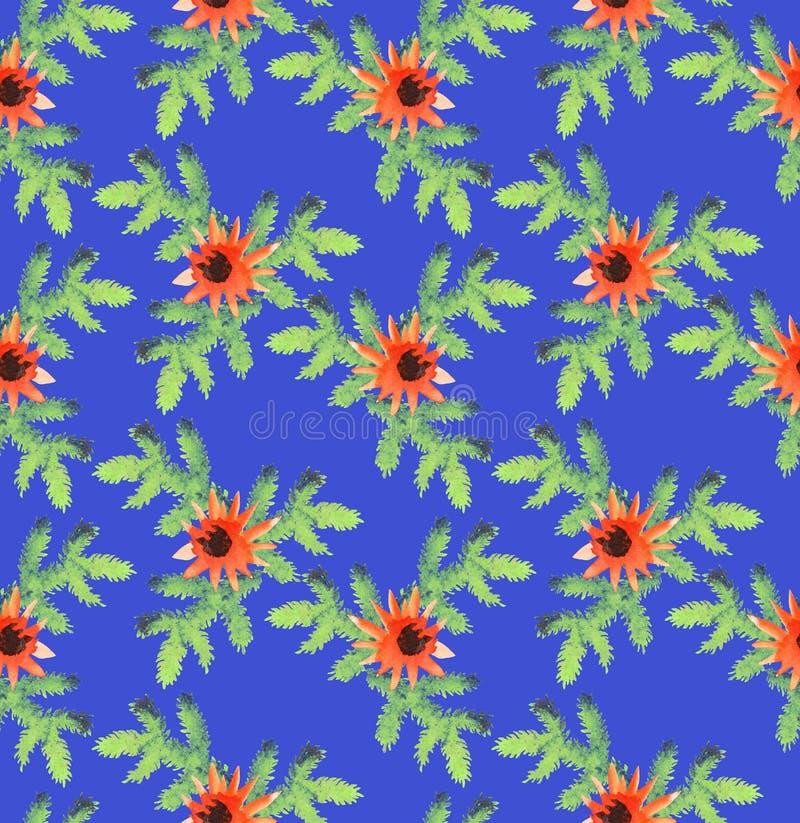 Modèle de Noël des branches impeccables et des fleurs oranges rouges sur un fond bleu Modèle sans couture, aquarelle illustration de vecteur
