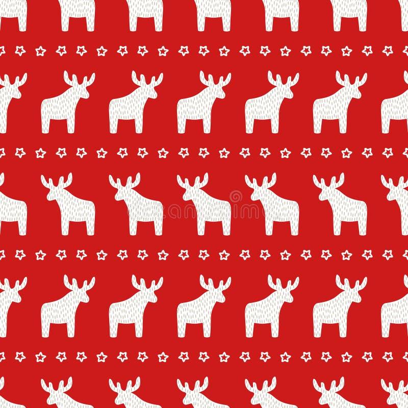 Modèle de Noël - renne et étoile de Noël sur le fond rouge illustration libre de droits