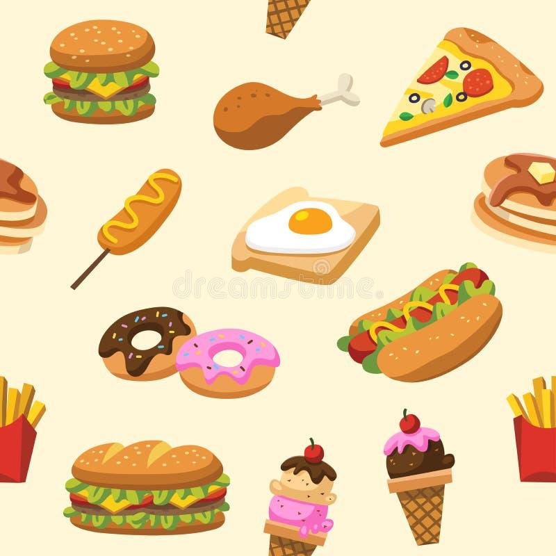 Modèle de nourriture traditionnelle Laissez le ` s manger quelque chose nourriture savoureuse délicieuse illustration libre de droits