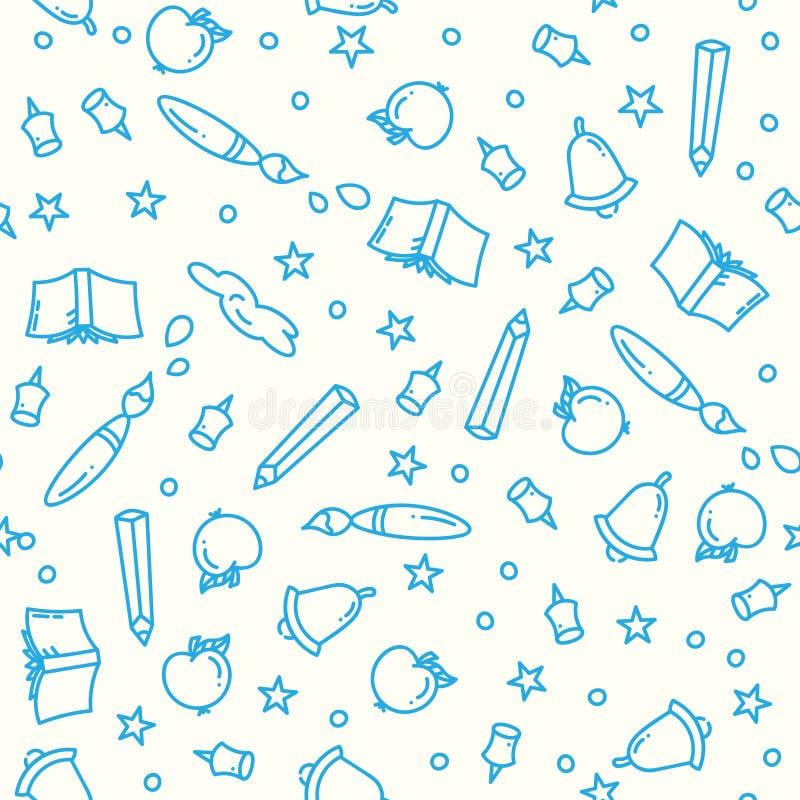 Modèle de nouveau à école avec la ligne mince fournitures scolaires d'icônes Fond d'éducation Éléments d'étude dans l'art linéair illustration stock