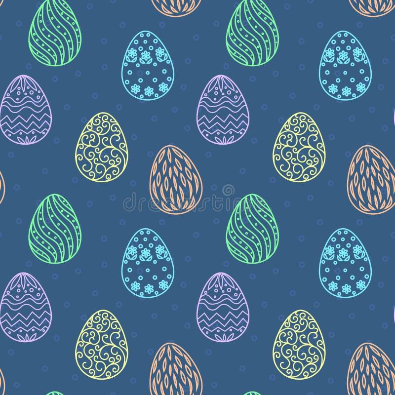 Modèle de Pâques avec des oeufs Dirigez la configuration sans joint illustration libre de droits