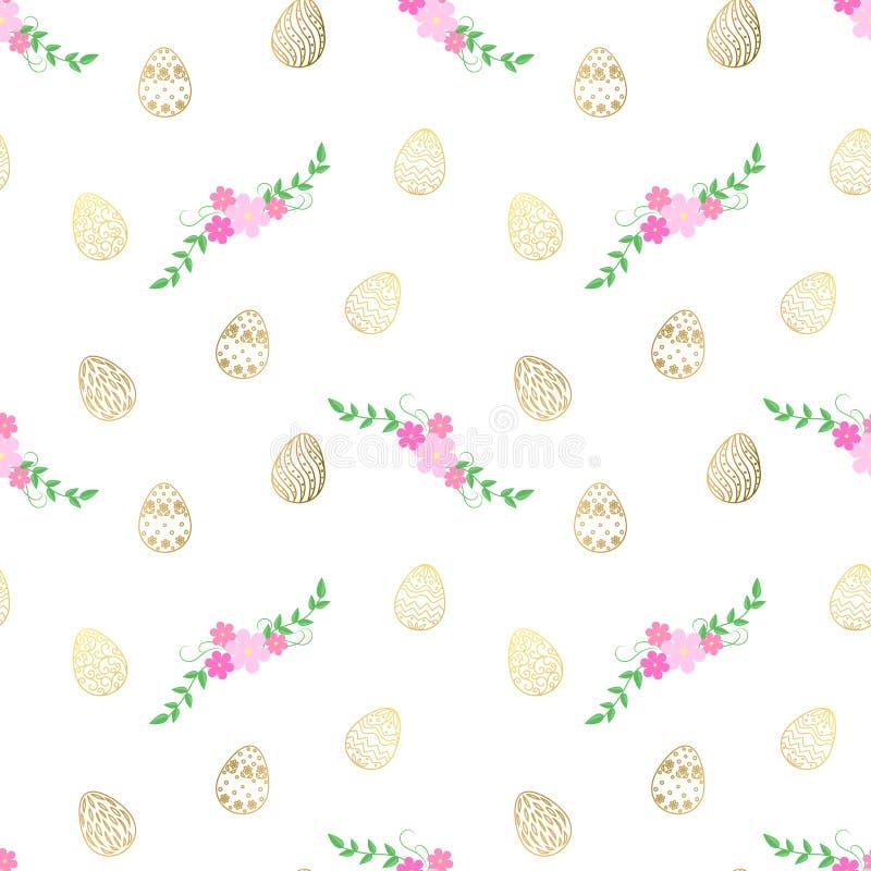 Modèle de Pâques avec des oeufs et des fleurs Dirigez la configuration sans joint illustration libre de droits