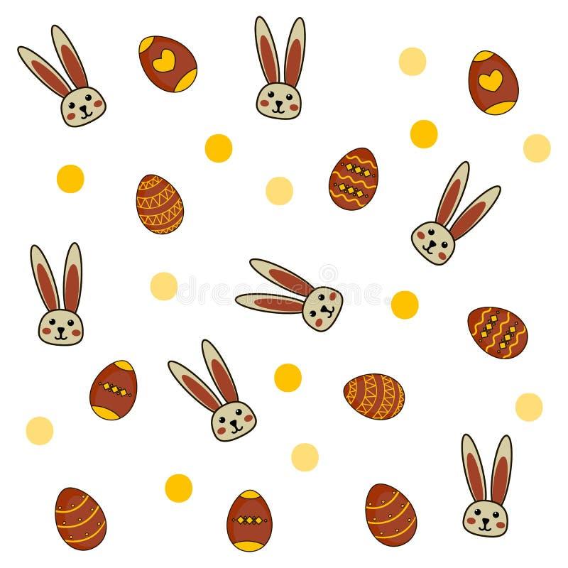 Modèle de Pâques avec des oeufs et des lapins sur le fond blanc illustration libre de droits