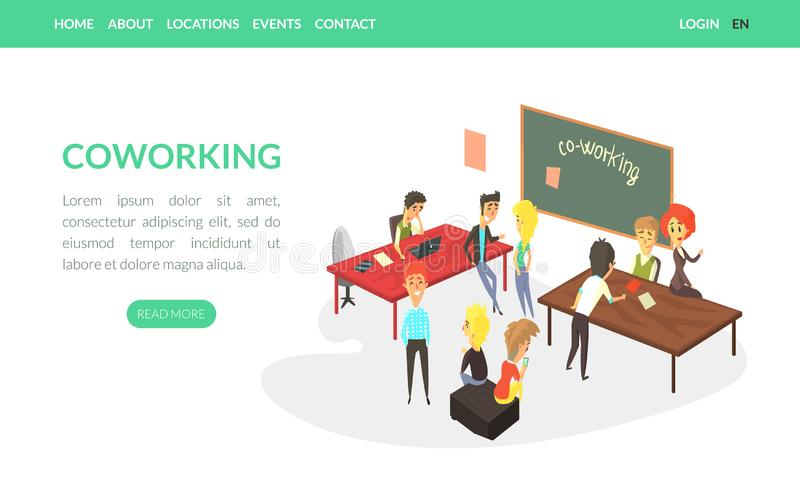 Modèle de page d'accueil de coworking, Business People Working Together in Friendly Open Workspace, Freelance, Teamwork illustration stock