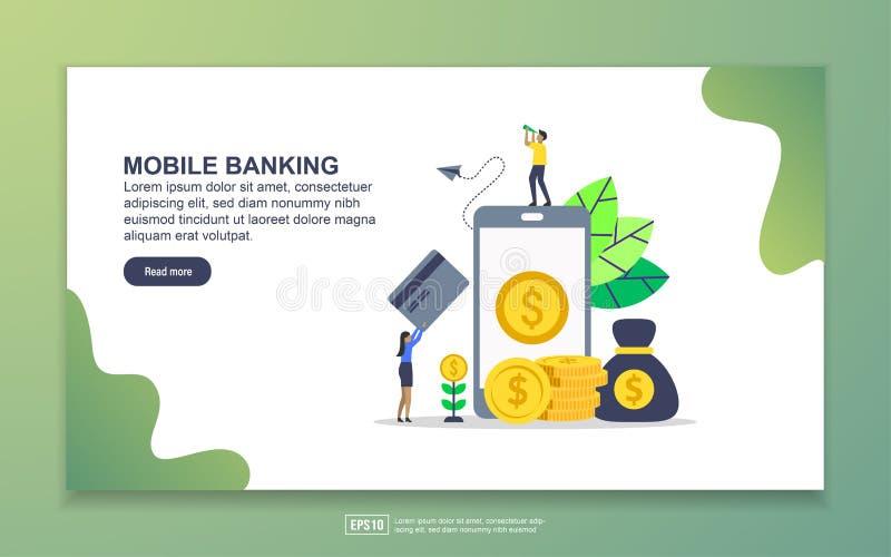 Modèle de page d'accueil de Mobile banking Concept moderne de design plat de pages Web pour le site Web et le site Web mobile Fac illustration de vecteur