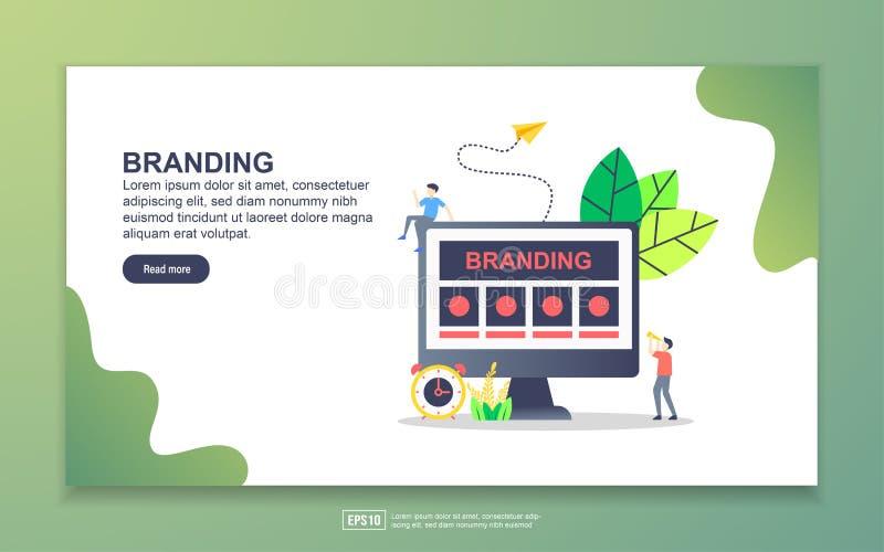 Modèle de page d'atterrissage de la marque Concept moderne de design plat de pages Web pour le site Web et le site Web mobile Fac illustration libre de droits