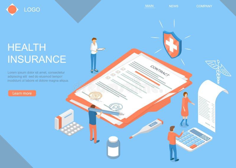 Modèle de page Web de la carte de concept d'assurance-maladie d'atterrissage Vecteur illustration de vecteur