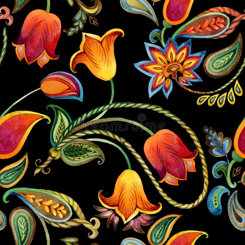 Modèle de Paisley de fleur d'aquarelle Fond indien sans couture de motif illustration libre de droits