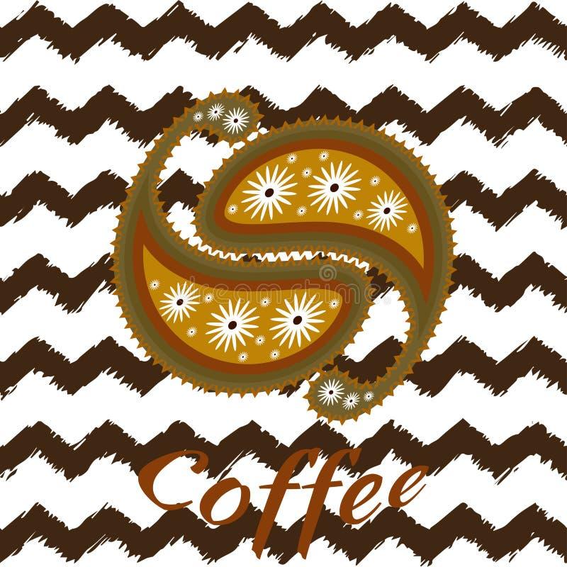 Modèle de Paisley de graines de café dans des couleurs brunes chaudes sur le fond de zig-zag Dessin de vecteur pour empaqueter, l illustration libre de droits