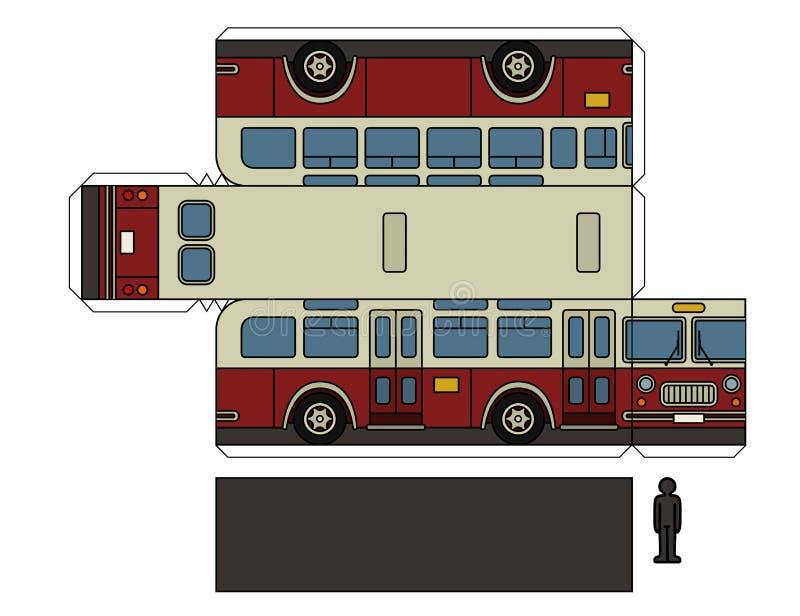 Modèle de papier d'un autobus classique de ville illustration de vecteur