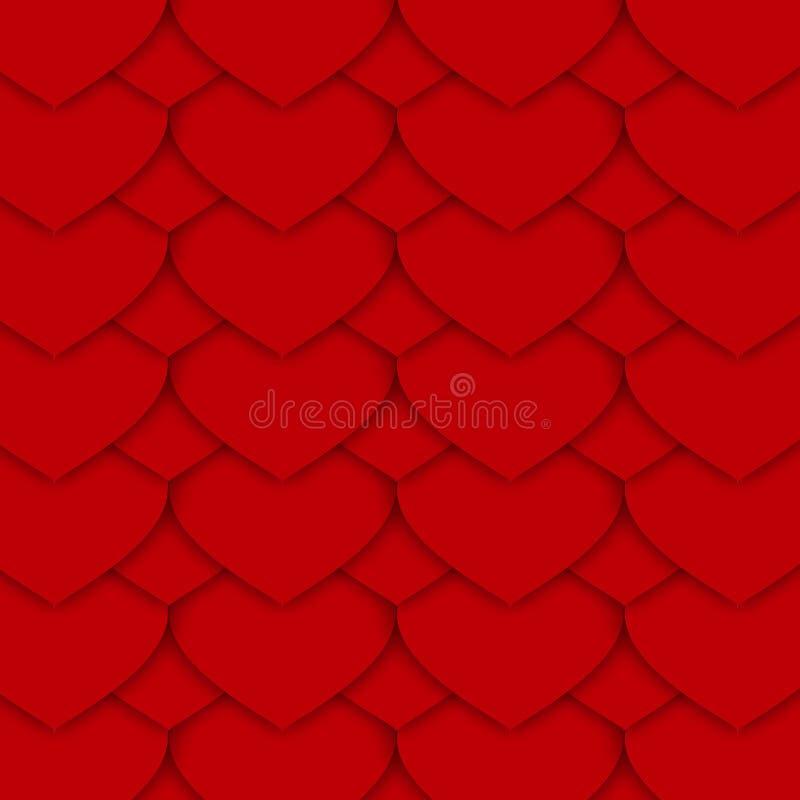 Modèle de papier rouge de coeurs illustration libre de droits