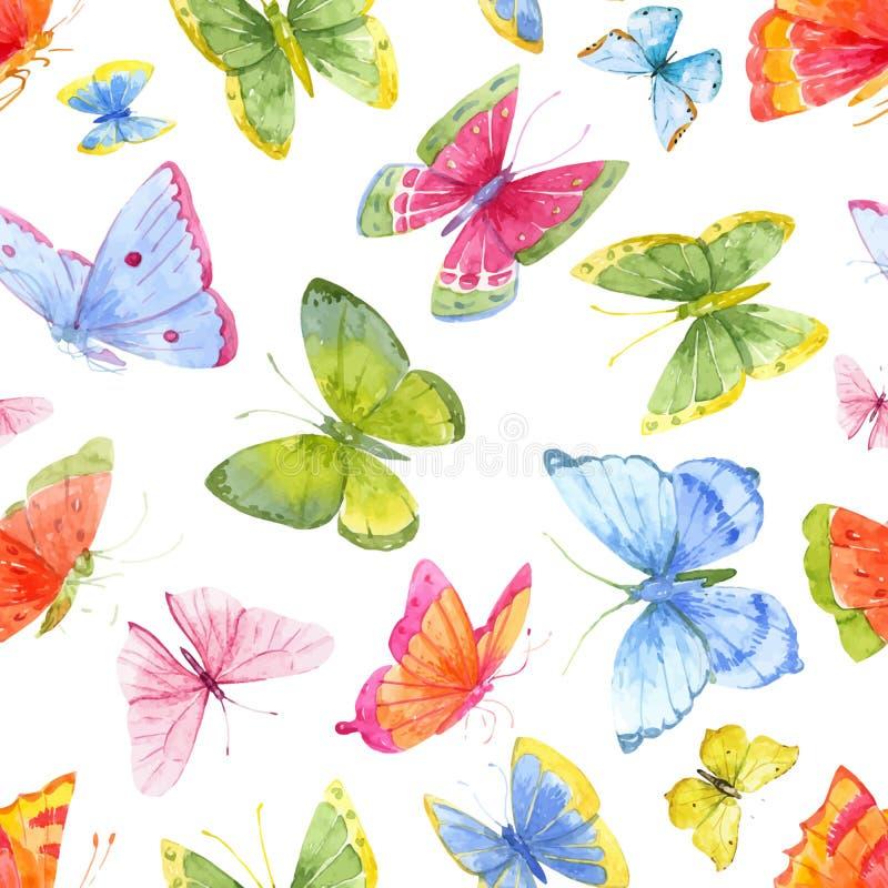 Modèle de papillon d'aquarelle illustration stock