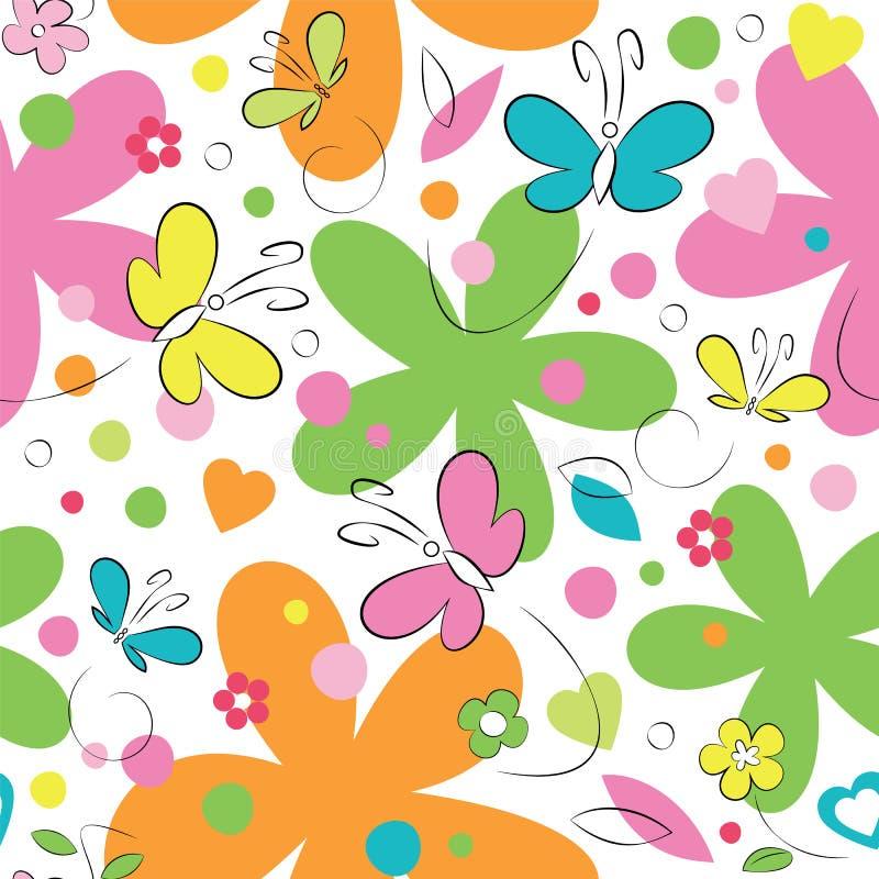 Modèle de papillons et de fleurs illustration de vecteur