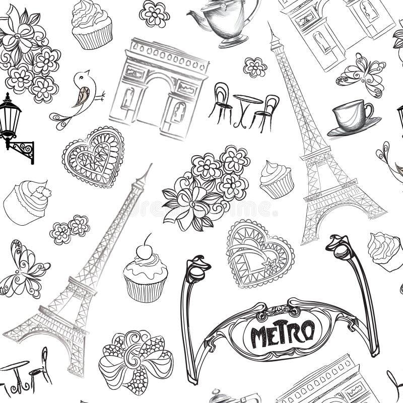 Modèle de Paris Texture architecturale sans couture de croquis de Frances de visite illustration libre de droits