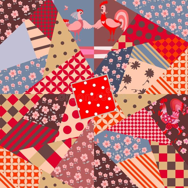Modèle de patchwork avec le coq et la poule mignons de bande dessinée illustration stock