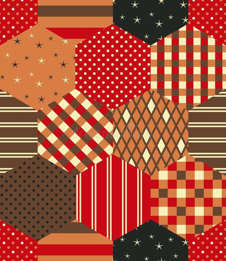 Modèle de patchwork dans des couleurs rouges, oranges et brunes Conception sans couture d'édredon des corrections d'hexagone illustration stock