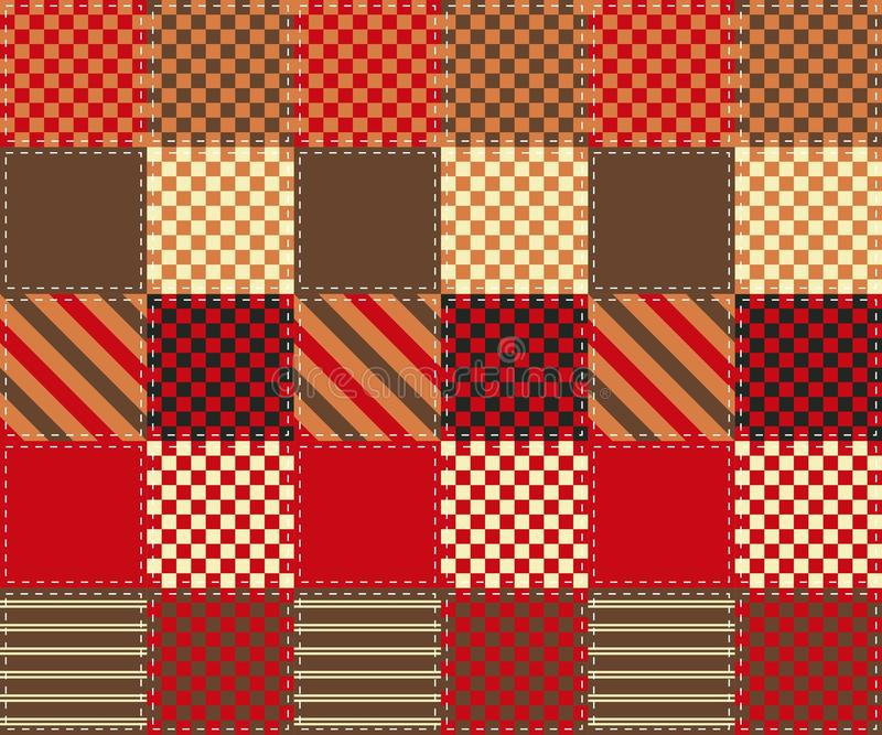Modèle de patchwork des places colorées avec les ornements géométriques simples illustration stock