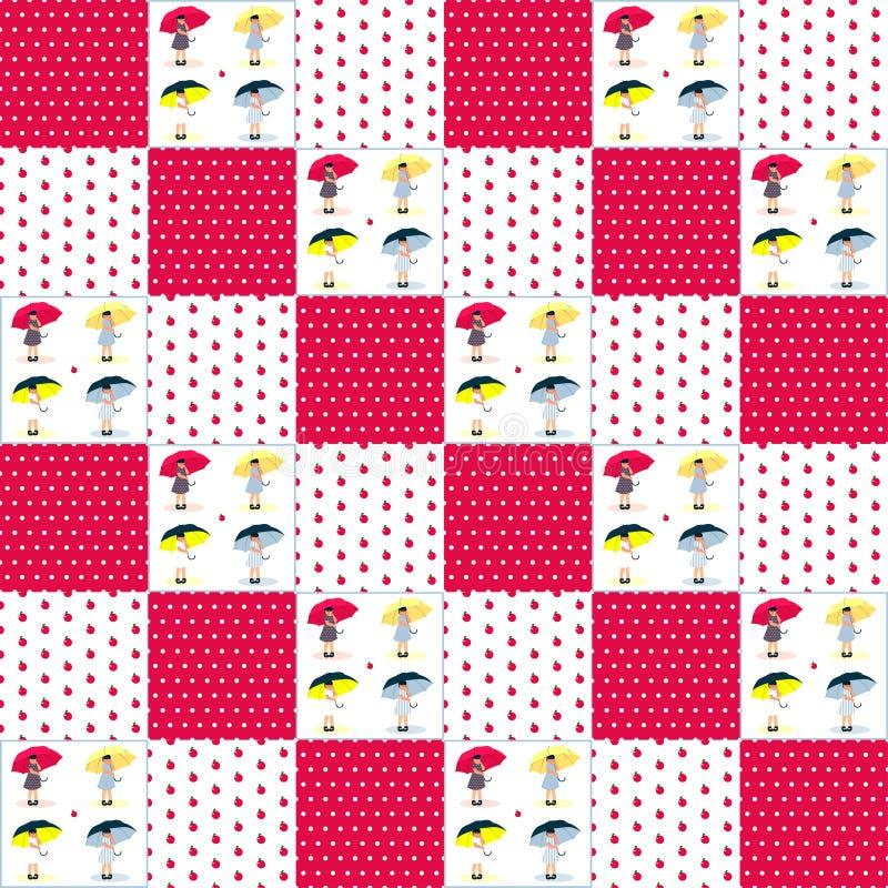Modèle de patchwork pour des filles illustration libre de droits