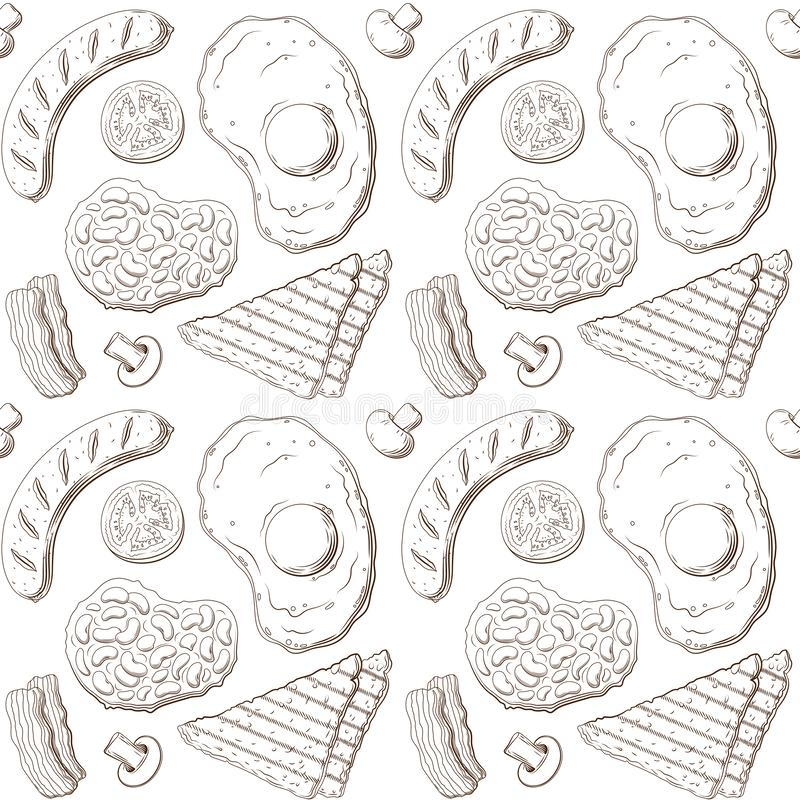 Modèle de petit déjeuner anglais, lignes croquis d'isolement illustration stock